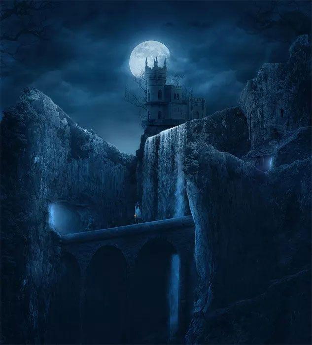 вложения картинки фэнтези ночь луна замок территории