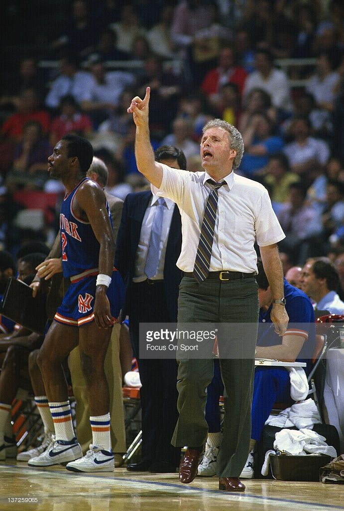 Head coach Hubie Brown of the New York Knicks talks calls out a play to his players during an NBA basketball game circa 1984. Brown coached the Knicks from 1982-87.