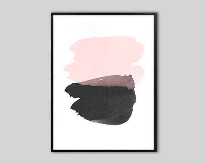 Printable abstract art, modern pink wall art, pink black abstract painting print, gift for her, digital download, pink print abstract,  28