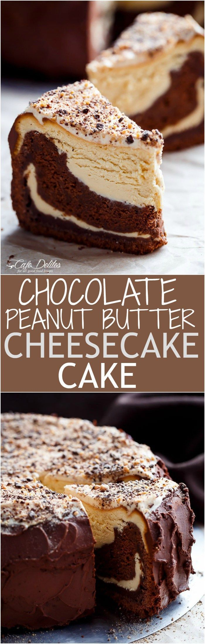 Chocolate Peanut Butter Cheesecake Cake made in the ONE pan! Creamy peanut butter cheesecake bakes on top of a fudgy chocolate cake for the ultimate dessert!   http://cafedelites.com Pinterest   https://pinterest.com/elcocinillas/