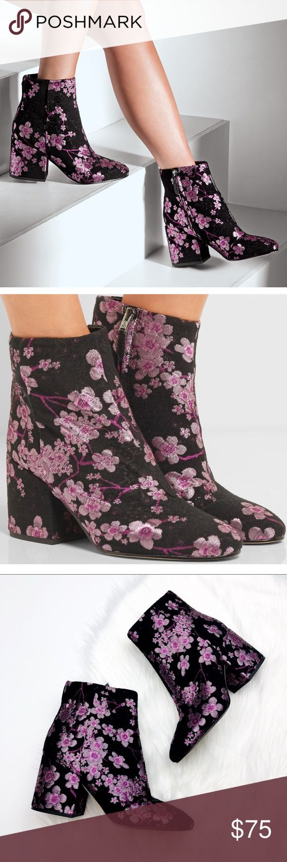 Sam Edelman Cherry Blossom Booties Excellent pre owned condition! So cute and perfect dressed up or down. Size 10. Black with purple berry blossom floral. No trades!! Sam Edelman Shoes Ankle Boots & Booties