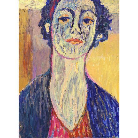 Original Colorful Portrait - Bright Girl Face - CURLS - Modern Woman - Oil on canvas - Wall hanging Art - Home - 15x23 inches