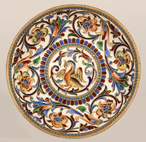 A Russian silver gilt and shaded cloisonne enamel shallow bowl, by Nikolai Alekseev, Moscow, late 19th century.