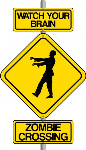 PublicDomainVectors.org-Vector clip art of zombie crossing traffic warning sign. Color image of road sign with warning