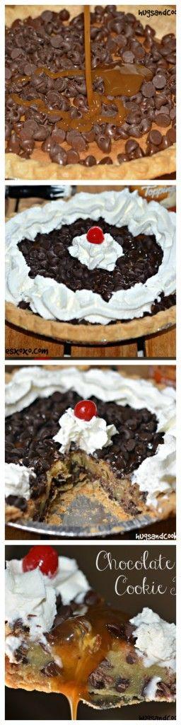 Chocolate Chip Caramel Cookie Pie