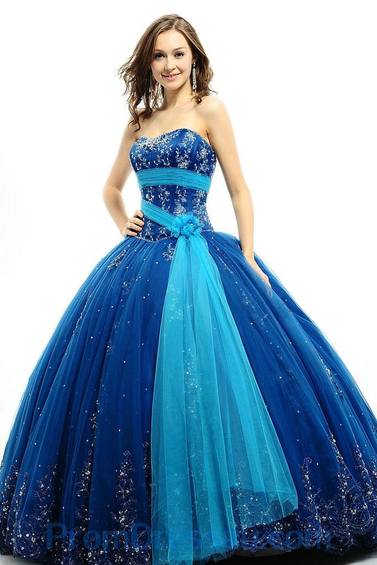 Sweetheart Embroidery Puffy Corset Royalblue and Blue Quinceanera