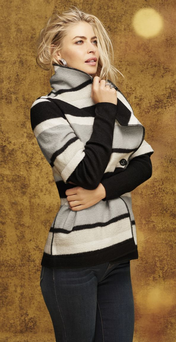 Details make a stylish difference within this chic striped jacket.