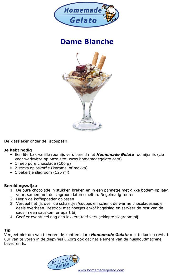 Zelf Dame Blanche roomijs maken met kant-en-klare basis ijsmix van Homemade Gelato www.info@homemadegelato.com
