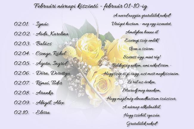 Februári névnapi köszöntők - február 1-10.