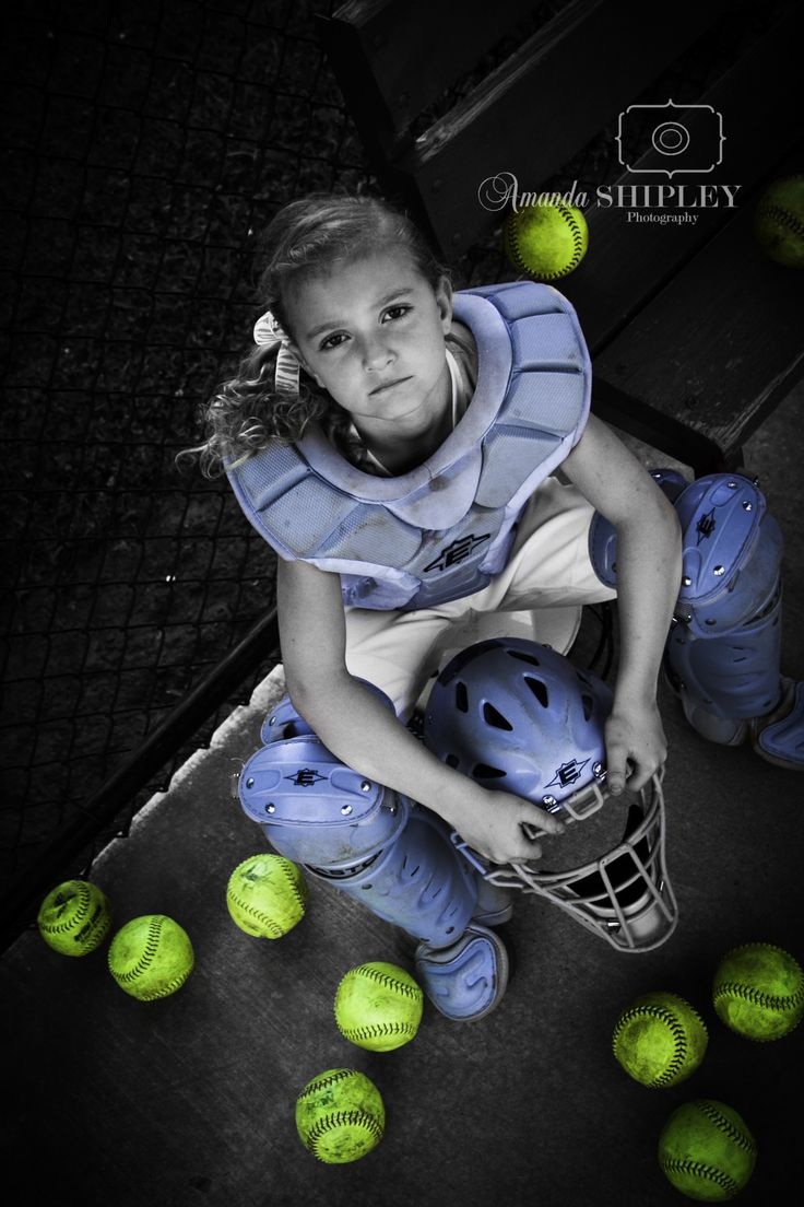 Softball catcher pose photography without the selective color