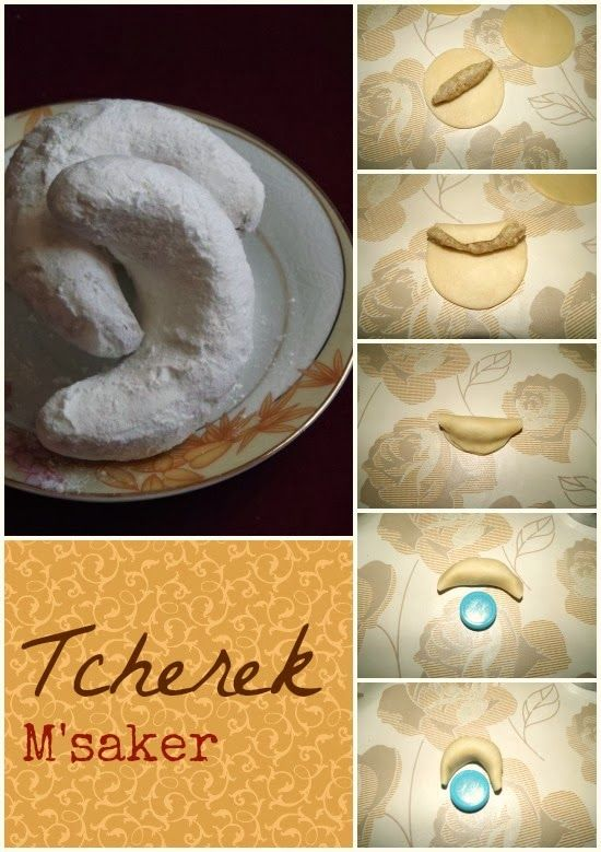 Tcherek m'saker - almond filled crescent shaped cookie