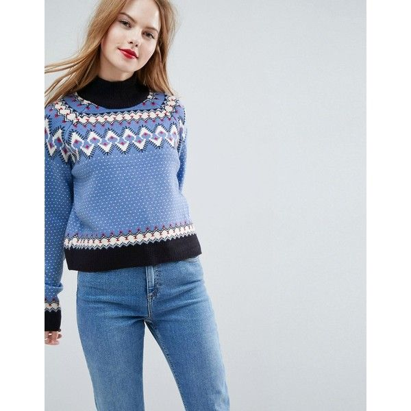 ASOS Sweater In Retro Fairisle found on Polyvore featuring polyvore, women's fashion, clothing, tops, sweaters, blue, high neckline crop top, party jumpers, high neck crop top and asos sweater