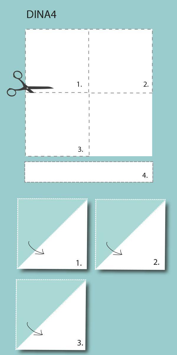 Bastelvorlage Origami Osterhasen Korb - Schritt 1