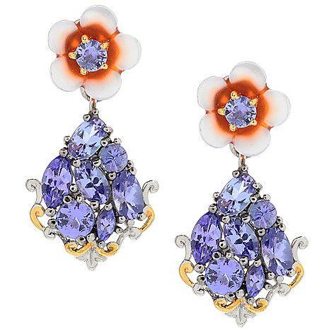 """155-419 - Gems en Vogue 1"""" 10mm Carved Mother-of-Pearl Flower & Tanzanite Drop Earrings"""