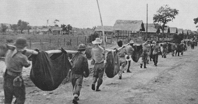 """This 65 mile march to a prison camp was an even more inglorious stain against the Japanese. Filipinos and GIs, carrying sick and wounded comrades in litters were beaten to death during this 6 (for some, 12-) day """"Death March"""" in searing heat. Some 10,000 died on the way, 15,000 soon after in the camp, from disease, wounds, and exhaustion.: Modern History, Japan Army, Imperial Japan, Bataan Death, Cruel Death, Filipino Pow, Death Marching, 10 000, Camps O' Donnel"""