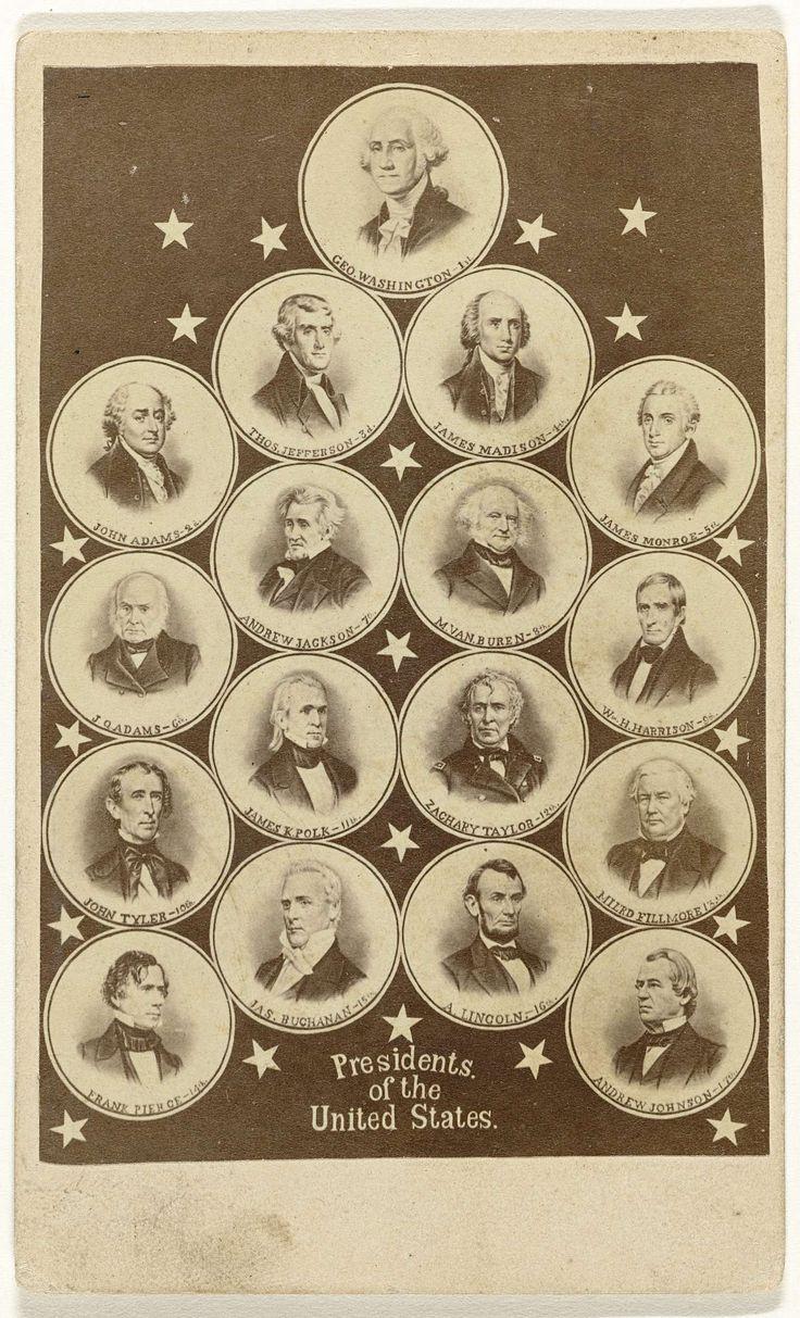 Compositie van portretten van 17 Amerikaanse presidenten, van George Washington tot en met Andrew Johnson (1789-1869), anoniem, ca. 1865 - ca. 1869 Met Van Buren maar nog zonder Trump
