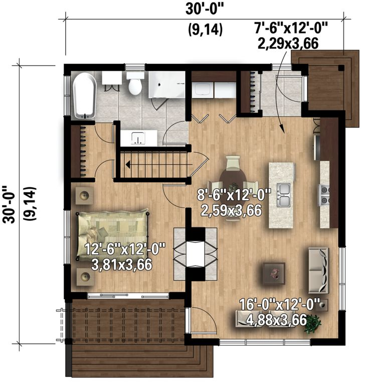 I really like the interior of this small house. Contemporary Style House Plan - 1 Beds 1 Baths 815 Sq/Ft Plan #25-4578 Floor Plan - Main Floor Plan - Houseplans.com