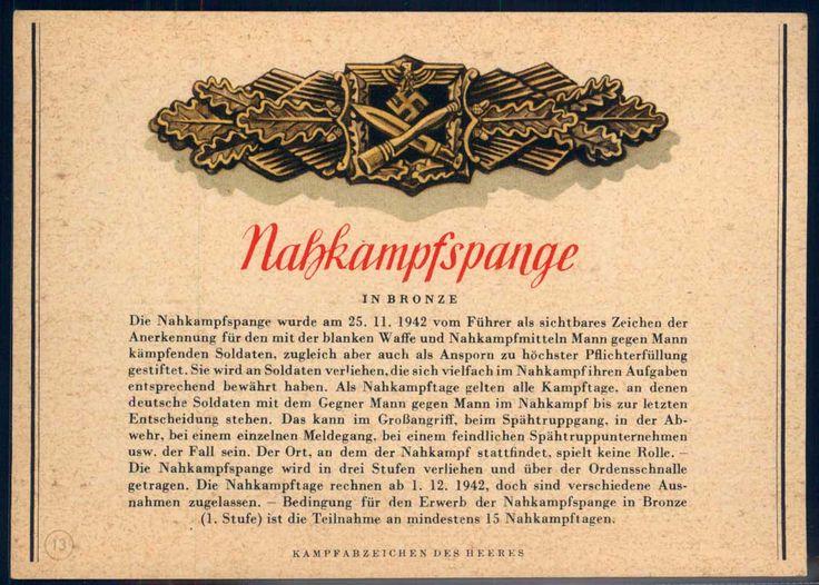 """Nahkampfspange in bronze"" Bildpostkarte Nr. 13"