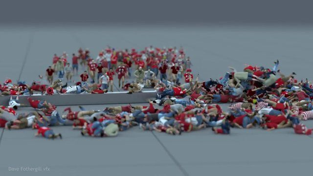 Crowd dynamics test using Miarmy for Maya. Shows the new servo force feature which allows struggling animation once the agent has become dynamic  Rendered with Arnold