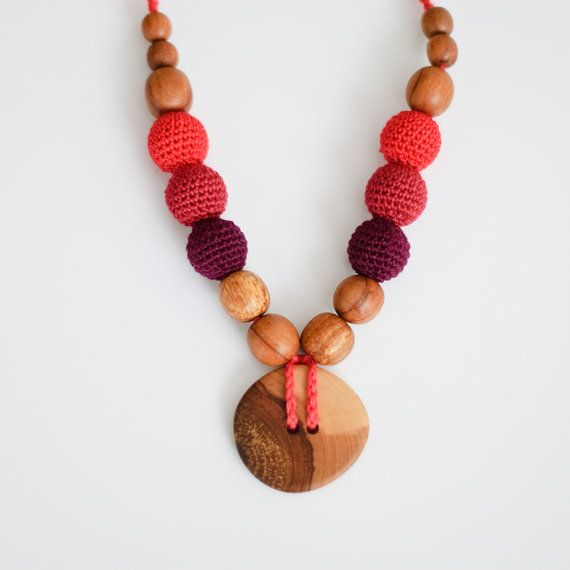 Applewood Button Nursing Necklace / Mommy Necklace by KangarooCare, $23.00