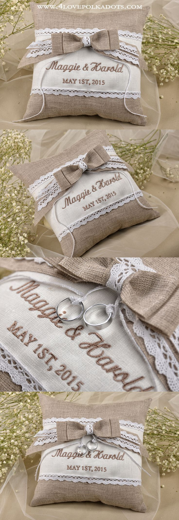 Rustic Wedding Ring Pillow #weddingideas #countrywedding #rustic