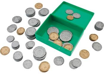 Plastic Coins in the Australian Currency, box of approximately 80 coins