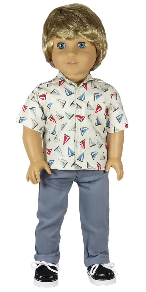 American Boy Doll Clothes - Silly Monkey - Sailboat Top and Grey Pants, $20.00 (http://www.silly-monkey.com/products/sailboat-top-and-grey-pants.html)