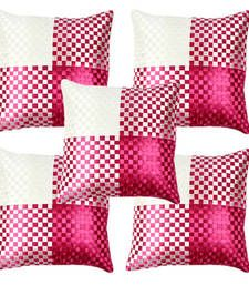 This is a beautiful polysilk set of 5 cushion covers having amazing mat weave design.