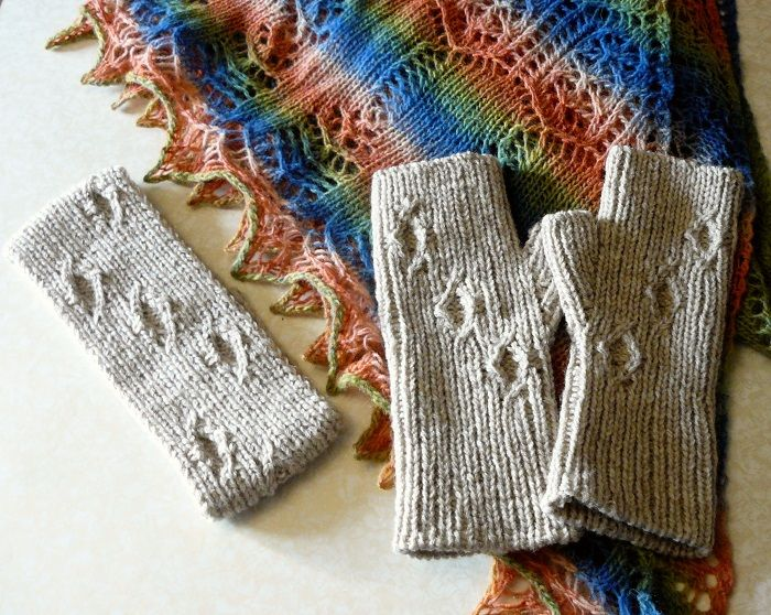 Knitted set headband and fingerless gloves Valentines gifts for women Gray Fashion accessories minimalist style Warm set for her
