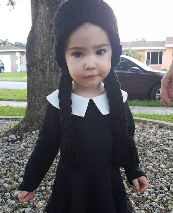 448a55b512a8 Black Braids Crochet Hat Yarn Wig Infant Baby Child Toddler Teen ...