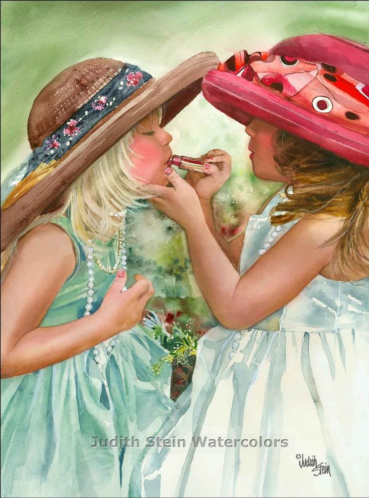 Reminds me of growing up with my cousins!!! Lol   GIRL FRIENDS Play Dress Up 11x15 Giclee by steinwatercolors, $40.00