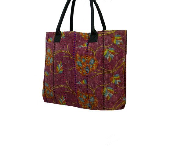 Handmade Kantha Shopping Bag Vintage Kantha Large by MyCraftPalace