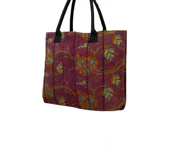 Handmade Kantha Shopping Bag Vintage Kantha Large by MyCraftPalace