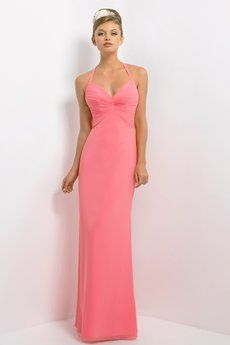 Bella chiffon bridesmaid dress with halter straps. Also available in knee length as style 154S.