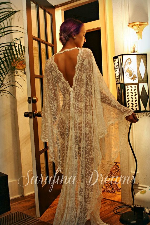 Exclusive Embroidered French Lace Bridal Robe от SarafinaDreams