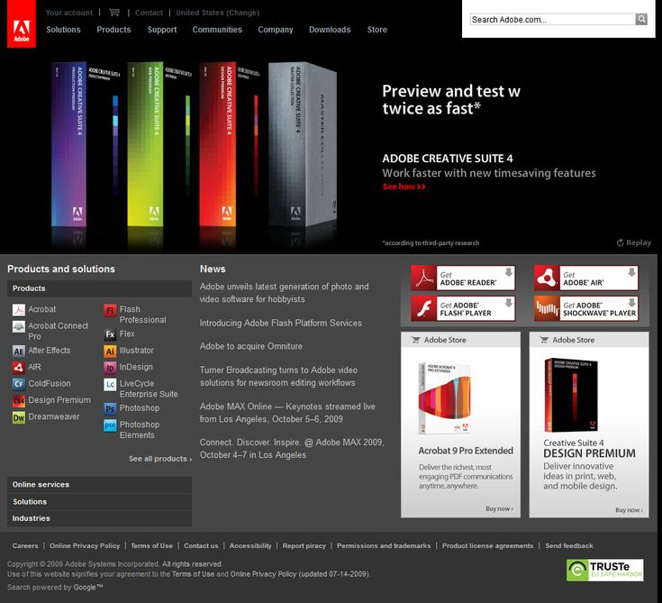 Adobe website 2009
