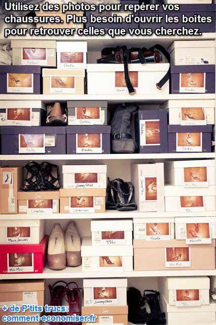 coller des photos sur les boites a chaussure pour les ranger