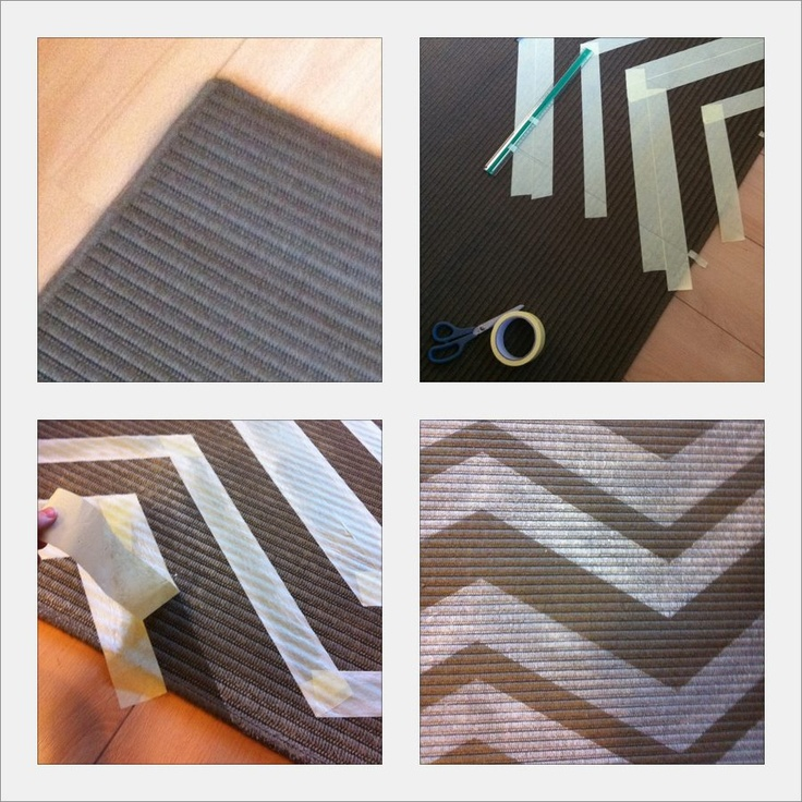 Home-Made Chevron Rug: 10 parts water to 5 parts acrylic paint to 2 parts Liquitex fabric medium; tape off design, dry-brush as many layers as needed, wait 1 hour and TA-DA!