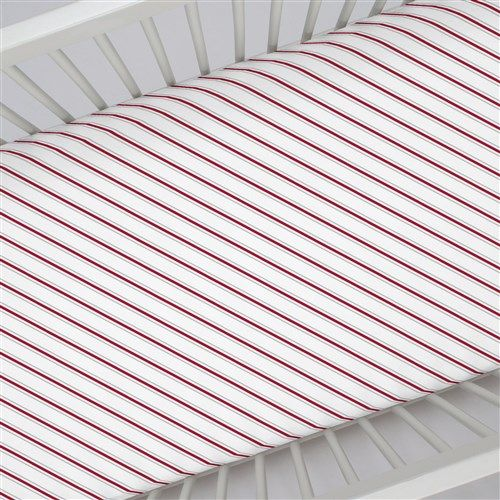"""Crib Fitted Sheet in and Gray and Crimson Necktie Stripe by Carousel Designs.  Our fitted crib sheets feature deep pockets and have elastic all the way around the edges to hug mattresses securely. Fits standard crib mattresses, measuring approximately 28"""" x 52""""."""