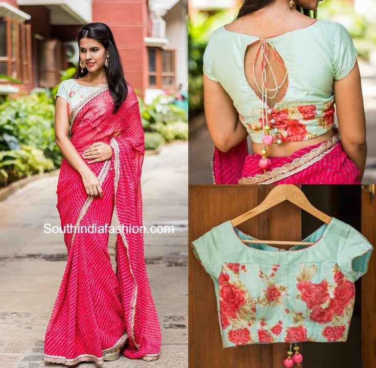 designer_saree_with_floral_blouse.jpg (783×767)