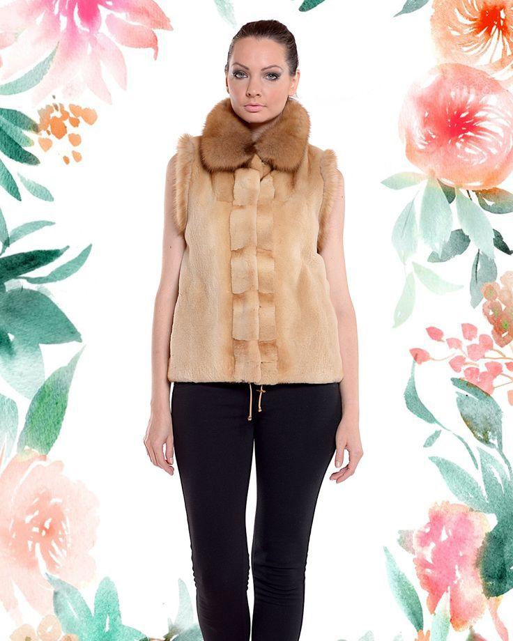 Sheared brown mink vest with a fluffy mink collar. Find more at pt-furs.com
