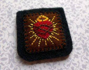 Hand Embroidered Brown Scapular: Sacred Heart by StellaMarigoldArt