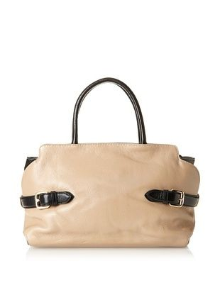Zenith Women's Lucille Two-Tone Buckle Satchel, Beige/Black