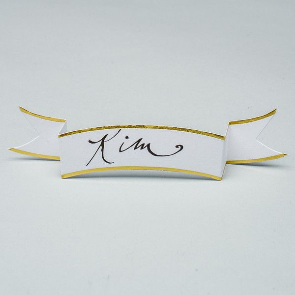White Banner Place Card