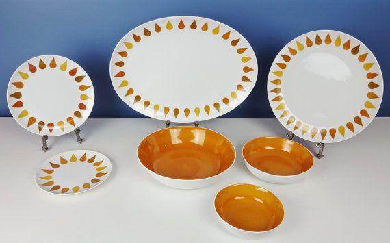 Vintage Dinnerware Set Mod Orange Sheba Yellow White by CurioBoxx