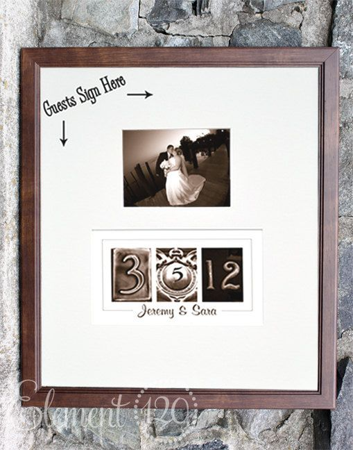 Wedding Date Guest Book, Number Photography Alternative Wedding Guest Book, Personalize with your own photo after the wedding, Sepia Frame on Etsy, $104.99