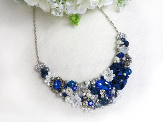 Blue, Silver - Handmade Statement Necklace - Neck Swag - Bib Necklace - Maid of Honor - Bridal - Wedding - Classic - Vintage - Party - OOAK on Etsy, $59.00