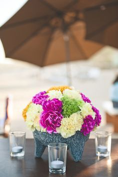 colorful carnation centerpiece for a Mexican Themed Party! Cute!