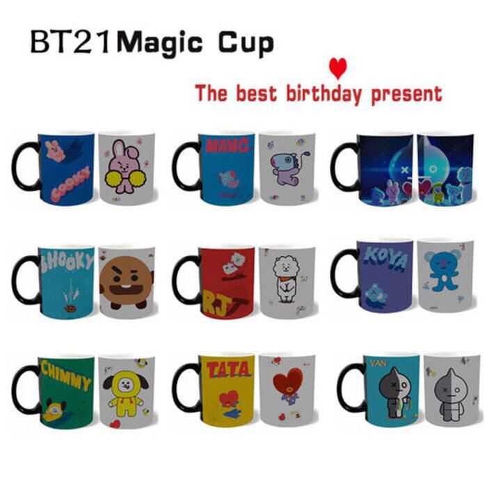 Alikpop Magic Mugs Kpop Bts Bangtan Boys Bt21 Tata Cooky Mang Cute Heat Color Changing Coffee Cup Beer Milk Mug Bi Tazas Ventilador Portatil Ventilador