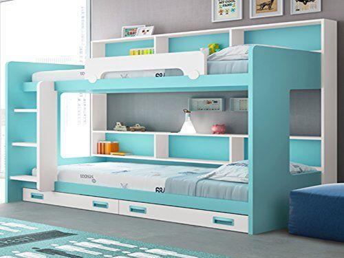 Cama litera con estantería trasera - http://vivahogar.net/oferta/cama-litera-con-estanteria-trasera/ -